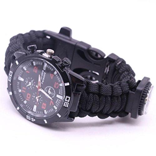OHQ Outdoor Survival Uhren Militär Herrenuhren Arabische Ziffern Dekorative Sub-Dials Kompass Thermometer Seil Armband Handgewebt Armbanduhren für Herren (D)