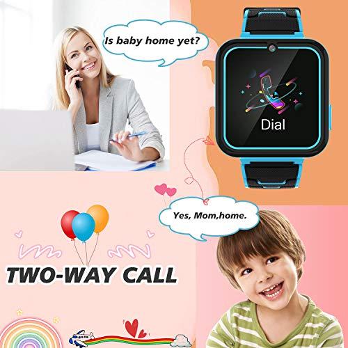 Kinder Smartwatch Telefon für Jungen Mädchen - 1,54'' Touchscreen-Handy mit Zwei Möglichkeiten Anruf SOS Taschenlampe Spiele Musik-Player Kamera Wecker als Kinder Geburtstagsgeschenk 4-12Y (BLAU)