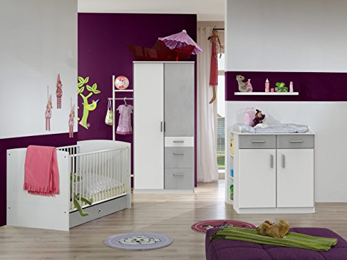 lifestyle4living Babyzimmer, Kinderzimmer, Komplett-Set, Babymöbel, Babybett, Wickelkommode, Babyausstattung, Einrichtung, Komplett, Schrank, weiß, Betonoptik