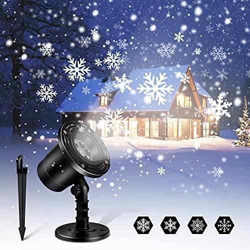 Christmas Snowfall Projector Lights, Upgraded Dynamic Snowflake Projector Lights Indoor, IP65...