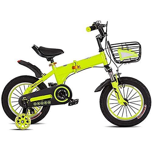 WXX 3-4-5-6 Ans Pliant Shock Absorber Enfants Vélo Haut en Acier Au Carbone 12/14 Pouces Anti-Skid Pneus Ville Route Solde Voiture,Vert,14 inches