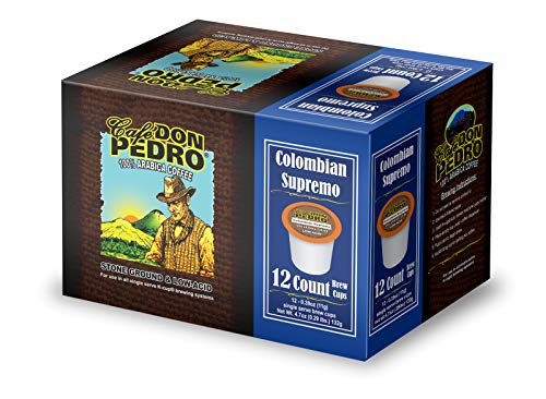 Cafe Don Pedro - 72 ct. Colombian Supremo Low Acid Coffee 72 Ct. - Compatible with Keurig 2.0 K-cup Brewers , 100% Arabica , Single Serve , Battles Heartburn Acidic Reflux, Healthy Gourmet Capsule Pod