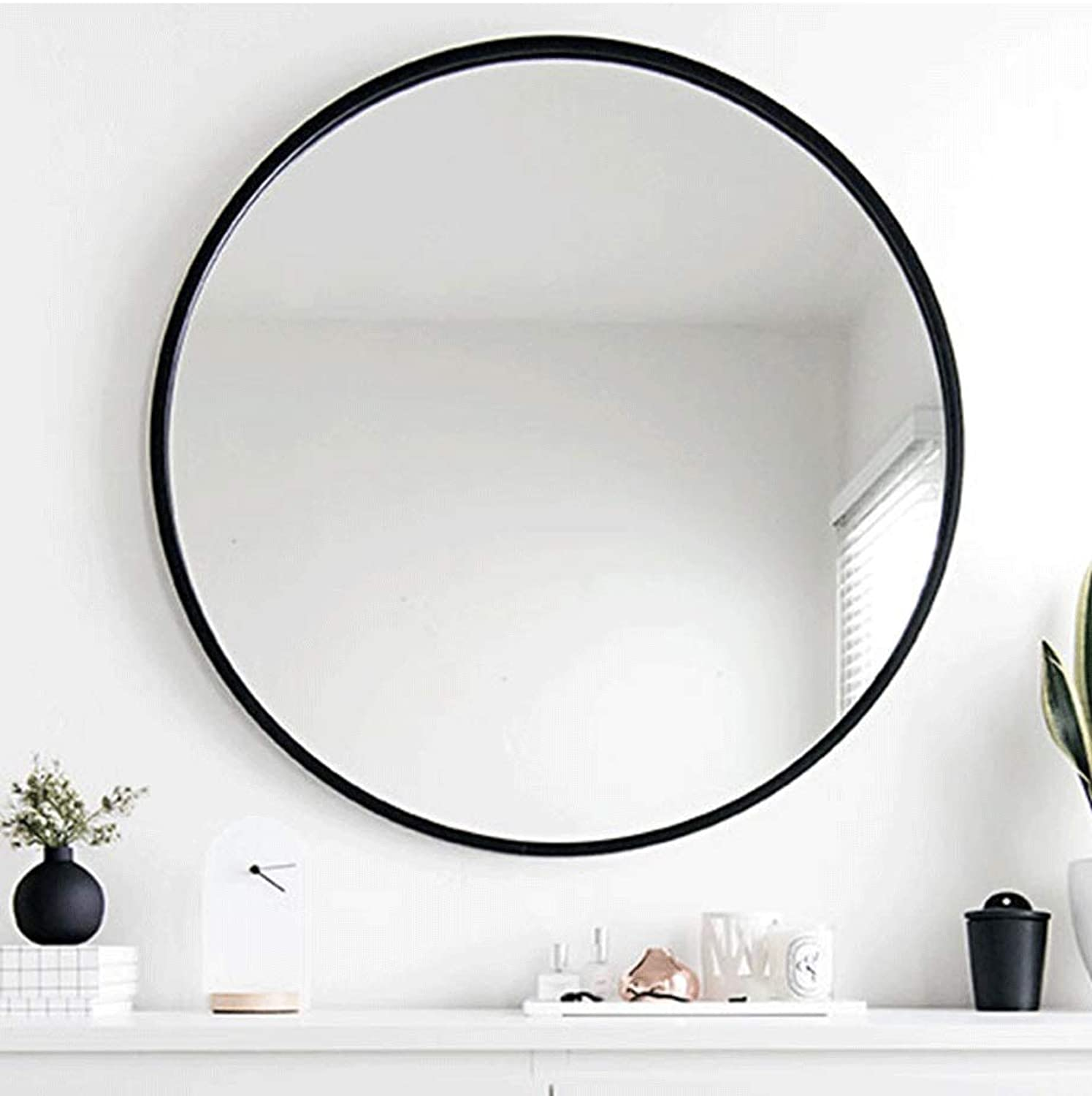 HELIn Modern Luxury Hotel Bathroom Decorative Antique Round Wall Mirror (color   Black, Size   30CM)