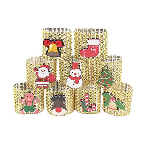 Amosfun 9pcs Navidad Anillo de servilleta de Santa decoración de Mesa de Navidad muñeco de Nieve Titular de la servilleta (de Oro)