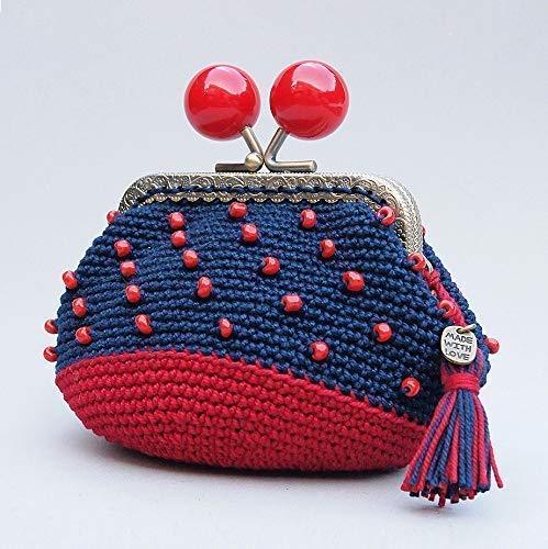 Monedero de boquilla con cuentas de cristal rojo hecho a mano en ganchillo de color azul marino y rojo oscuro.