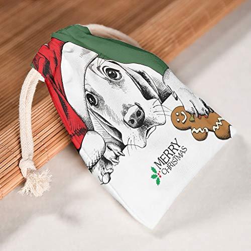 Lind88 Paquete de 12 bolsas de almacenamiento de animales de Navidad, reutilizables, para regalos de Año Nuevo, cumpleaños, bolsa de regalo, White (Blanco) - Lind88-STB