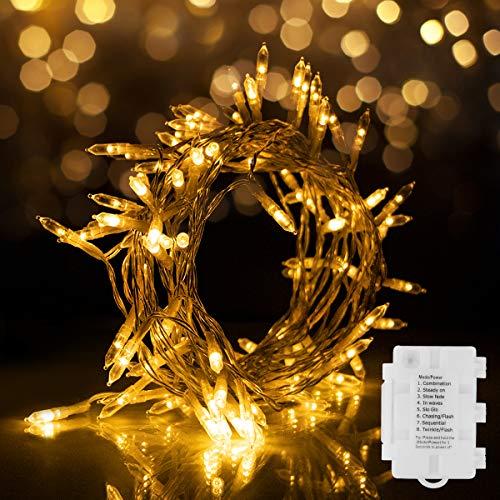 Aloici 100LED Lichterkette Batterienbetrieben mit Timer 11M 8 Modi, IP65 Wasserdicht für Innen Außen Weihnachten Zimmer Bett Hochzeit Party Schlafzimmer Weihnachtsbaum,Warmes Weiß
