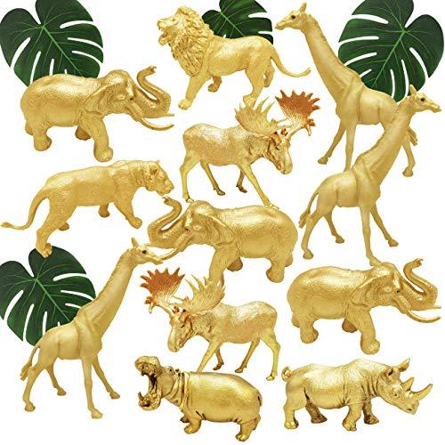 Metallic Gold Plastic Animal Figurines Toys, 12PCS Jumbo Safari Zoo Animal Figures, Jungle Wild Animals with Elephant, Lion, Giraffe for Baby Shower Decor, Safari Themed Birthday Party
