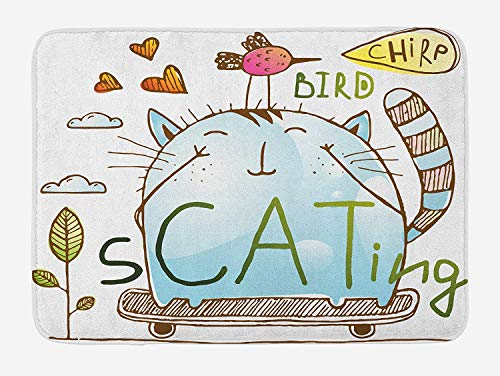 MSGDF Quirky Bath Mat, Kitten and Birdie Friends on Skateboard Design Playing Doodle Hearts Flowers Clouds, Plush Bathroom Decor Mat with Non Slip Backing, 23.6 W X 15.7 W Inches, Multicolor