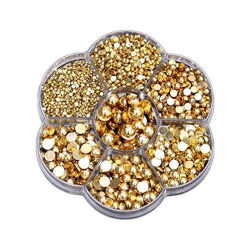 Healifty Lot de 2465 perles strass à dos plat en résine pour loisirs créatifs, fabrication de bijoux, accessoires de maquillage (doré), Plastique et résine, doré, M