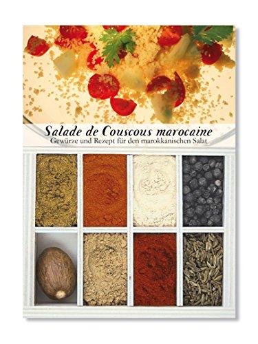 Salade de Couscous marocaine – 8 Gewürze Set für marokkanischen Salat (55g) – in einem schönen Holzkästchen – mit Rezept und Einkaufsliste – Geschenkidee für Feinschmecker von Feuer & Glas