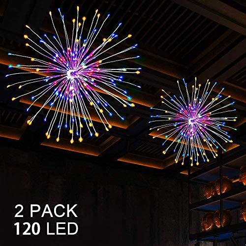 2 Stück 120 LEDs Feuerwerk Lichterketten, 8 Modi LED Starburst Lichter aus Kupferdraht, batteriebetriebene Lichterketten mit Fernbedienung für Weihnachten, Hochzeit, Party, Innen, Außen