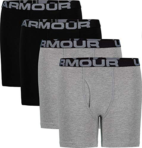 Under Armour Boys' Big Charged Cotton Stretch Boxer Jock, Moderate Gray, YLG