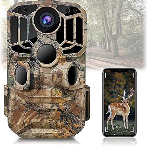 WiFi Wildlife Camera 4K 24MP Cámara de Caza con Control de App Detector de Movimiento Low Glow IR Night Vision 3 PIR 120 ° Gran Angular IP66 Impermeable