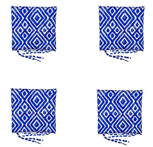 Homevibes Cojines para Sillas, Cojin para Silla con Lazos, Juego de 4 Cojines para Interior o Exterior de 100% Algodon, Medidas 40 x 40 x 5 cm Varios Diseños para Decorar Tu Hogar (Rombos Azul)