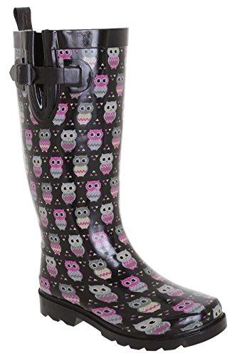 Capelli New York Ladies Shiny Owl Printed Rain Boot Black Combo 7
