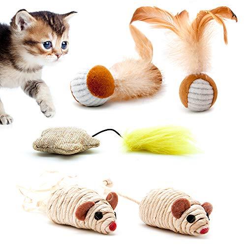 4yourpet Katzenspielzeug 5-teiliges Katzenspielzeug Set Playfun aus natürlichen Materialien, 2X Sisalmaus, 2X Feder Spielzeug, Spielbälle mit Rassel Maus, Jutestern mit Federschweif