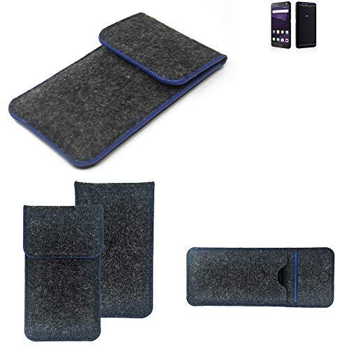 K-S-Trade Handy Schutz Hülle Für ZTE Blade V8 64 GB Schutzhülle Handyhülle Filztasche Pouch Tasche Hülle Sleeve Filzhülle Dunkelgrau, Blauer Rand