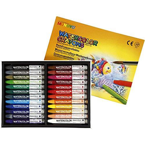 Pastels aquarellables, épaisseur 0,9 cm, L: 9 cm, 24pièces