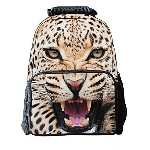 Zaino del ghepardo 3D dei bambini del tessuto del feltro dello zaino del feltro della scuola dei bambini della stampa animale del fronte 3D per il computer portatile