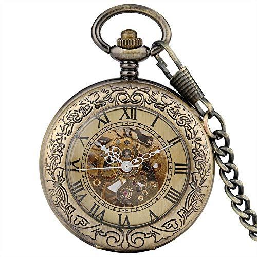 J-Love Bronce Antiguo diseño Transparente mecánico automático Bolsillo de Viento automático Hombres Mujeres Reloj Fob Cadena de Regalos