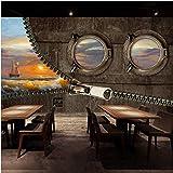 Zybnb Mural 3d Retro estilo de pintura de madera 3D wallpaper barco Cafe lounge bar dormitorio sala de estar hotel casa de té mural