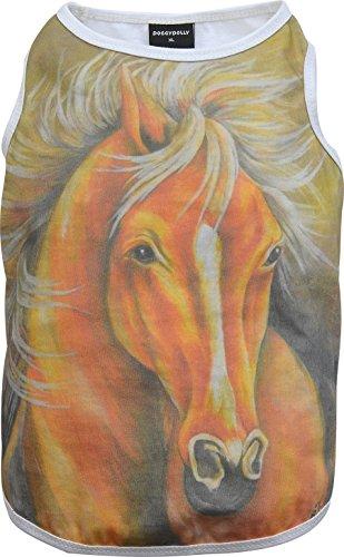 Doggy Dolly T560 hondenshirt schilderij paard, wit, XXS Brust 26-28cm, Rücken 13-15cm