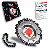 TOOLMERS Chainsaw Wheel 7/8' Arbor Compatible with All 4-1/2 or 5' Angle Grinders, 4 Inch Saw Disc, 22 Teeth for Cutting Carving Shaping Wood, Extra Chain, Tooth Indicator, Instruction Sheet, Gift Box