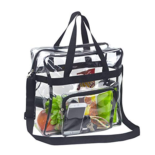Magicbags Clear Tote Bag Stadium Approved, Adjustable Shoulder Strap and Zippered Top, Stadium Security Travel & Gym Clear Bag, Perfect for Work, School, Sports Games and Concerts-12 x12 x6, Black