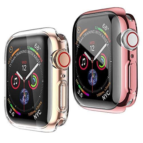 HENGBOK Hülle mit Bildschirmschutz für Apple Watch Series 3/2/1 42mm, 2 Stück iWatch Schutzhülle Voller Schutz Superdünn Weiche TPU Hülle Kratzfest Stoßfest Gehäuse - Rosa+Transparent