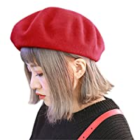[モニコ] ベレー レディース ベレー帽 帽子 無地 ウール 毛 暖 フェルト 赤 黒 白 ピンク ブラック カラフル m001&m002-RE