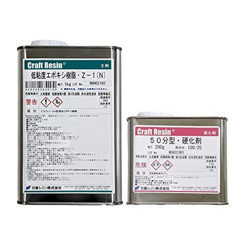 低粘度 エポキシ樹脂 Z-1 N 主剤 1kg & 硬化剤200g セット 50分型硬化剤