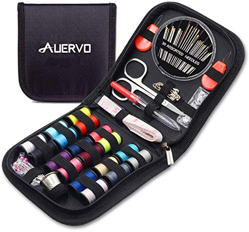 Mini Travel Sewing Kit, AUERVO DIY Premium Sewing Supplies,Basic Sewing kit for Adults,Beginners,Home,Emergency Filled with Repair kit and Sewing Needles,Thread,Scissors,Thimble,Tape Measure etc