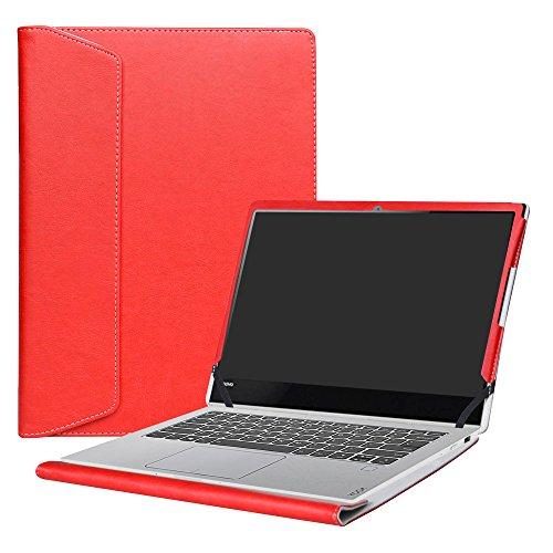 Alapmk Diseñado Especialmente La Funda Protectora de Cuero de PU Para 13.9' Lenovo Yoga 920 920-13ikb/Yoga 910 910-13ikb Ordenador portátil,Rojo
