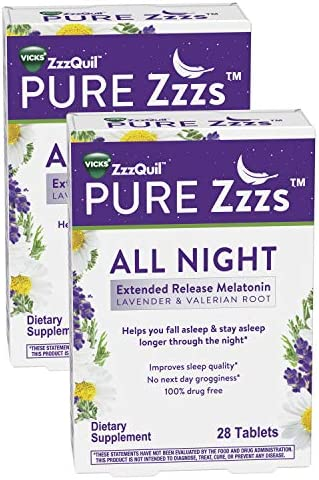 ZzzQuil PURE Zzzs All Night Extended Release Melatonin Sleep Aid Supplement with Lavender Valerian product image