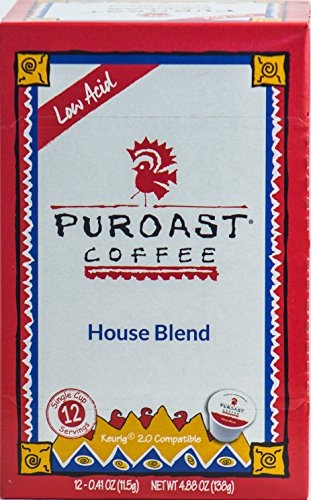 Puroast Low Acid Coffee House Blend Single Serve Coffee, Keurig Compatible, 4.88 Ounce