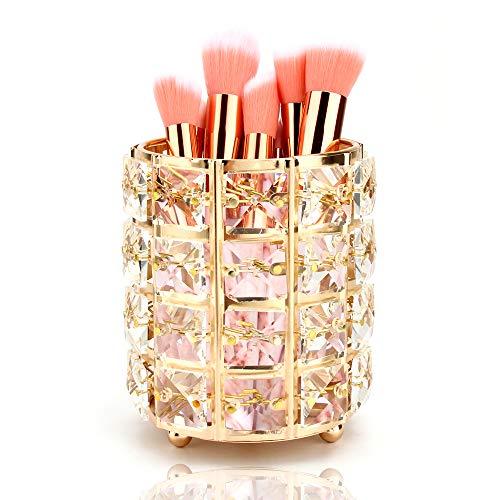 Organizador de Brochas de Maquillaje de Cristal,Portacepillos de Maquillaje Portalápices para Almacenamiento Pinceles de Maquillaje Delineadores Lápices Dorado