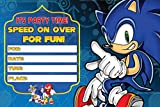 Sonic Speed On Over Invitation Cards – 20 Fill-in Invites for Kids Birthday Bash and Theme Party, 10X15 cm, Postcard Style…
