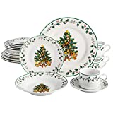 Gibson Home Tree Trimming 20-Piece Ceramic Dinnerware Set, White/Green/Red -