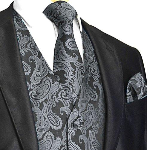 Men's 3pc Paisley Vest (XL (Chest 46), Charcoal)