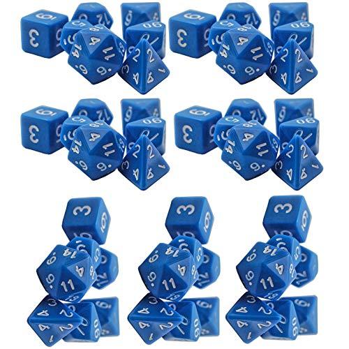 LIUXING-Home Würfelset Multi-seitige Spiel Würfel Set Multi-seitige Set-Würfel (7 Sätze) 16mm Massivfarbe Multi-seitige Würfel Magische Tischspiele (Color : Blue, Size : 16mm)