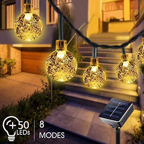 BOZHZO Led Lichterkette Solar Außen, 50er LED Lichterkette 7M Kristall Warmweiß, 8 Modi IP65 Wasserdicht Lichterkette solar für Deko Garten, Hochzeit, Bäume, Weihnachten, Party, Innen und Aussen