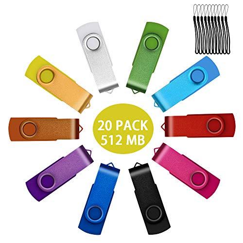 20 Piezas 512MB Memoria USB 2.0 Color Mezclados Pendrive Giratoria U Disco...