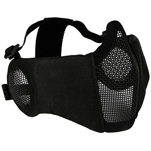 Half Face Mesh-Maske,Tactical Face Protective Mask Radfahren Mesh-Maske für CS Jagd Paintball Schießen (black)