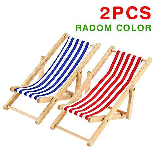 2* 1: 12Miniatur faltbar Puppenhaus Strandkorb Modell TOYS Streifen rot/blau im Recamiere Möbel Zubehör (Radom Farbe)