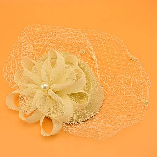 Accessoires pour cheveux Voile petit chapeau accessoires de cheveux rétro dame net fil fleur coiffe robe accessoires-crème-blanc