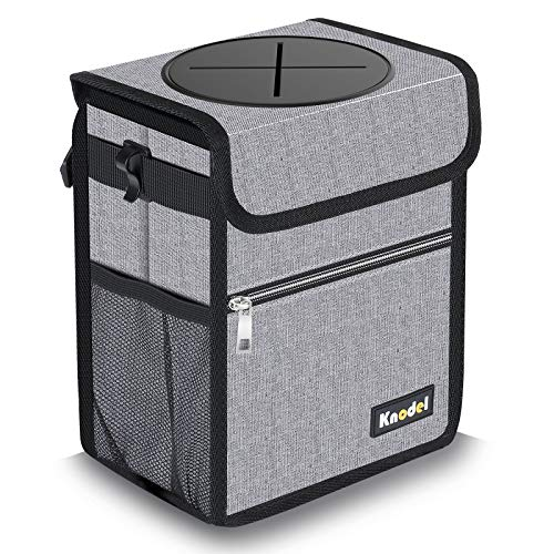 Knodel Car Trash Can with Lid, Leak-Proof Car Garbage Can with Storage Pockets, Waterproof Auto Garbage Bag Hanging for Headrest (Small, Gray)