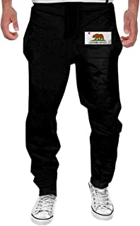 Men's California Republic Flag Black Sweatpant Sport Casul Pant