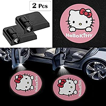 Fit for Hello Kitty Car Door Lights Logo Projector,2 Pcs fit Hello Kitty Led Laser Door Shadow Light Welcome Projector Lamp,Fit for All Brands of Cars - No Drilling Required