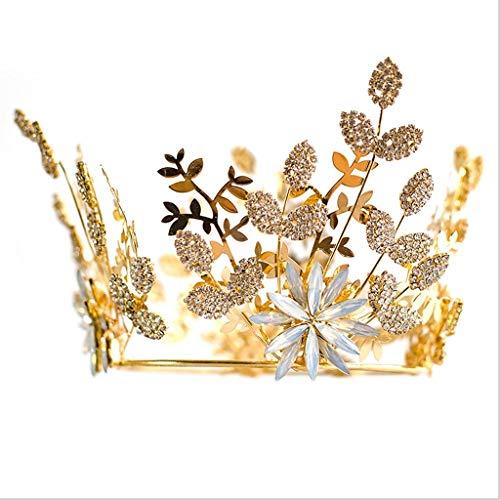 Heren Bruids Hoofdadres, Gouden Blad Strass Volledige Ring Prinses Kroon Bruiloft Accessoires